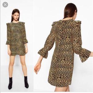Zara Trafaluc Leopard Animal Print Dress NWT Med